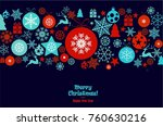 christmas ornament balls with... | Shutterstock .eps vector #760630216