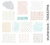 set of grungy hand drawn... | Shutterstock . vector #760632946