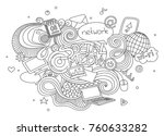 hand drawn cartoon  doodle... | Shutterstock . vector #760633282