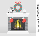 christmas interior. decorated... | Shutterstock .eps vector #760635736