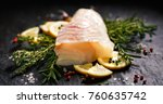 fresh raw cod fillet with... | Shutterstock . vector #760635742