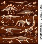 dinosaur fossils  eggs  bones   ...   Shutterstock .eps vector #760637158