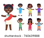 cartoon afro american girl in... | Shutterstock . vector #760639888