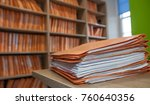files on table infront of