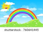 color rainbow with clouds and... | Shutterstock . vector #760641445