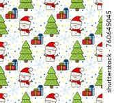 seamless new year pattern with... | Shutterstock .eps vector #760645045