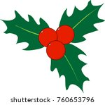 isolated holly vector art with... | Shutterstock .eps vector #760653796