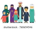 cartoon  arab muslim family set. | Shutterstock . vector #760654546