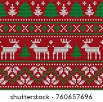 knitted christmas and new year... | Shutterstock .eps vector #760657696