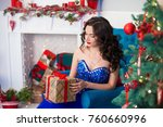 beautiful woman in elegant blue ... | Shutterstock . vector #760660996