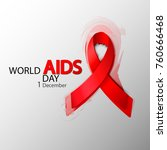 world aids day. red aids ribbon.... | Shutterstock .eps vector #760666468
