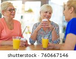 senior friends having good time ... | Shutterstock . vector #760667146