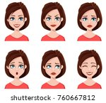 facial expressions of a cute... | Shutterstock .eps vector #760667812