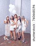 happy girls having fun drinking ... | Shutterstock . vector #760668196