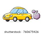 yellow sports car with exhaust... | Shutterstock .eps vector #760675426