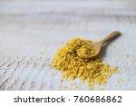 nutritional yeast  vegan cheese. | Shutterstock . vector #760686862