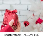 woman holding small gold... | Shutterstock . vector #760691116