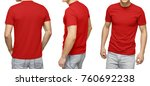 Young male in blank red t shirt ...