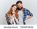 young guy with beard and... | Shutterstock . vector #760693636
