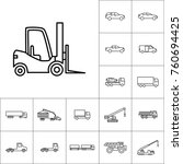 thin line forklift icon on... | Shutterstock .eps vector #760694425