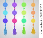 pompon and tassels hanging... | Shutterstock .eps vector #760717516