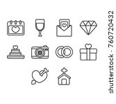 wedding icon set outline | Shutterstock .eps vector #760720432