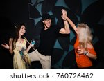 cheerful party   friends enjoy... | Shutterstock . vector #760726462