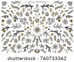 hand sketched floral design... | Shutterstock .eps vector #760733362