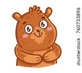 cute grizzly bear  adorable ... | Shutterstock .eps vector #760733896