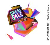 vector abstract 3d great sale... | Shutterstock .eps vector #760734172