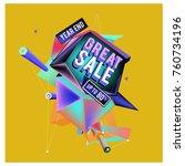 vector abstract 3d great sale... | Shutterstock .eps vector #760734196