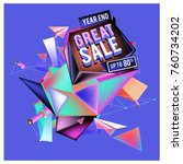 vector abstract 3d great sale... | Shutterstock .eps vector #760734202