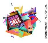 vector abstract 3d great sale... | Shutterstock .eps vector #760734226