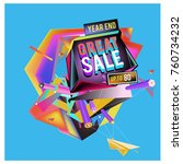 vector abstract 3d great sale... | Shutterstock .eps vector #760734232