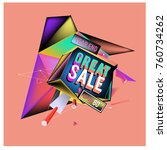 vector abstract 3d great sale... | Shutterstock .eps vector #760734262