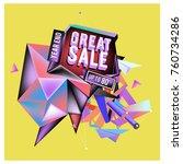 vector abstract 3d great sale... | Shutterstock .eps vector #760734286