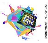 vector abstract 3d great sale... | Shutterstock .eps vector #760734322
