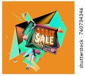 vector abstract 3d great sale... | Shutterstock .eps vector #760734346