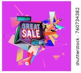 vector abstract 3d great sale... | Shutterstock .eps vector #760734382