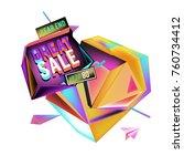vector abstract 3d great sale... | Shutterstock .eps vector #760734412