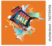 vector abstract 3d great sale... | Shutterstock .eps vector #760734436