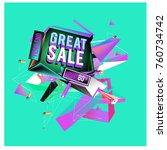 vector abstract 3d great sale... | Shutterstock .eps vector #760734742