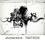 vector grungy floral... | Shutterstock .eps vector #76073533