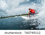 surfer rides the ocean wave... | Shutterstock . vector #760740112