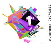 vector colorful 1st anniversary | Shutterstock .eps vector #760743892