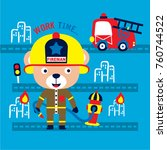 fire rescue bear cute cartoon... | Shutterstock .eps vector #760744522