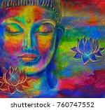 head of lord buddha digital art ... | Shutterstock . vector #760747552