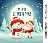 merry christmas  santa claus... | Shutterstock .eps vector #760751065