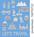 world traveling labels with... | Shutterstock .eps vector #760752712