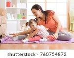 kids yoga female teacher... | Shutterstock . vector #760754872